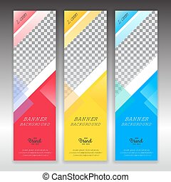 Set of vertical abstract colorful display banner background with copy space