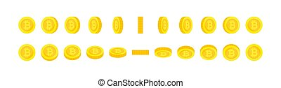 Set of vertical and horizontal rotation gold bitcoin coins. Cryptocurrency, digital money sprites for animation.