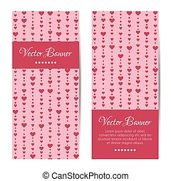 Set of vertical banners, cards with hearts