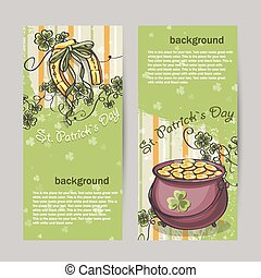 Set of vertical banners for St. Patricks Day with horseshoe