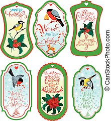 set of vertical banners or labels with calligraphic text holly berries and bullfinch birds on