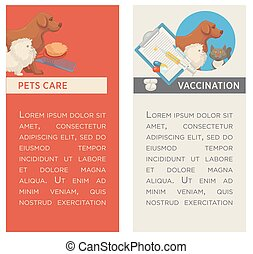 Set of vertical banners. Pet care. Vet clinic. Flat design.