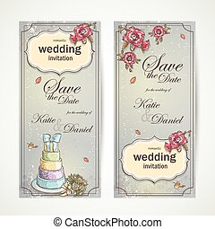 Set of vertical banners wedding invitations with red...