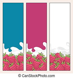 Set of  Vertical  Banners with Berry Raspberries