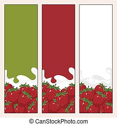 Set of  Vertical  Banners with Berry Strawberry