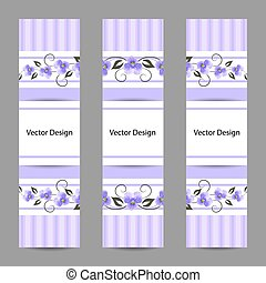 Set of vertical banners with flowers - Set of vertical ...