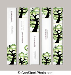 Set of vertical banners with green tree