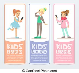 Set of vertical banners with teenagers using modern gadgets, talking on the phone, listening to music. Flat cartoon vector young girls characters.
