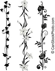 set of vertical floral dividers
