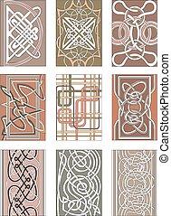 Set of vertical knot decorative patterns