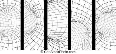 Set of vertical or horizontal banners with abstract 3d tunnel