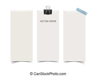 Set of vertical paper card banners. Realistic vector notepaper wit torn edges