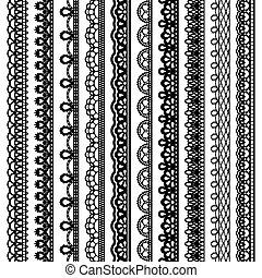 Set of vertical seamless borders for design. Black laced silhouette isolated on white background.