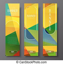 Set of vertical web banners with abstract colorful polygonal background