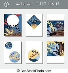 Set of vibrant autumn brochures