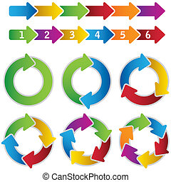 Set of vibrant circle diagrams and chart arrows. This image is a vector illustration.