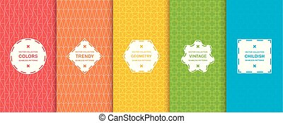 Set of vibrant creative seamless geometric patterns. Vector color backgrounds