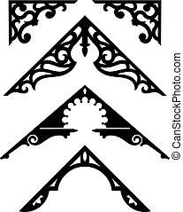 Set of Victorian Gingerbread Architectural Trim Illustrations.