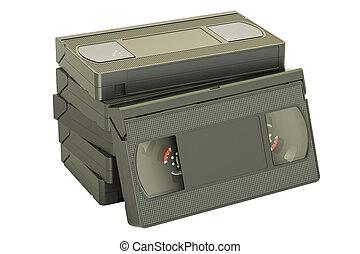 set of videotapes, 3D rendering