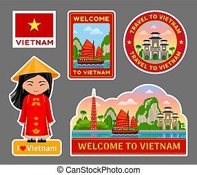 Set of vietnamese travel stickers.