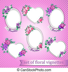 set of vignettes with flowers
