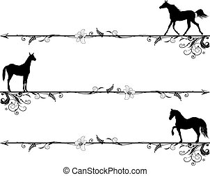 set of vignettes with horses - set of vector vignettes with ...