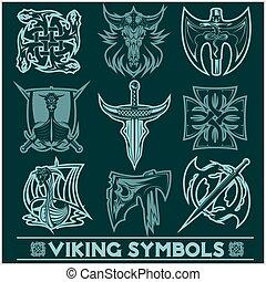 Set of Viking symbols icons vector.