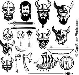 Set of vikings icons. Vikings weapon, ship, helmets. Design elem
