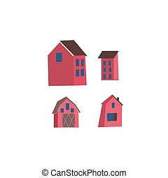 Set of village farm houses doodle drawing Bundle of four rustic building Hand drawn flat vector illustration in cartoon style isolated on white background
