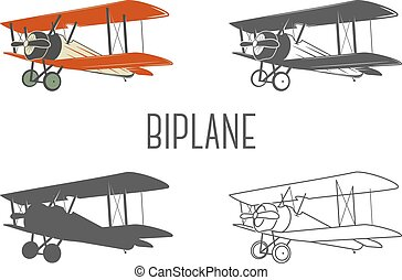 Set of vintage aircraft design elements. Retro Biplanes in ...