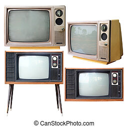 Set of vintage analog television isolated on white clipping path.