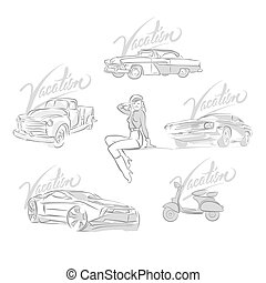 Set of vintage and modern cars drawings