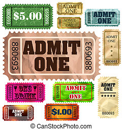 Set of vintage and modern ticket admit one. EPS 8