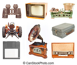 set of vintage and retro items isolated on white background