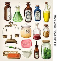 Set of vintage apothecary supplies - Set of vintage...
