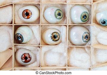 Set of vintage artificial eyes