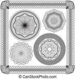 Set of Vintage backgrounds, Guilloche ornamental Element for Certificate, Money, Diploma, Voucher, decorative round frames.