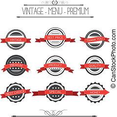 Set of vintage badges and labels