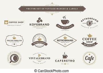 Set of vintage badges and labels.