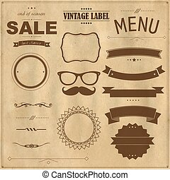 Set Of Vintage Badges With Paper Background