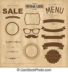 Set Of Vintage Badges With Paper Background