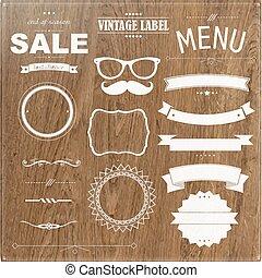 Set Of Vintage Badges With Wood Background