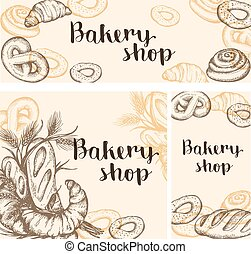 Set of vintage bakery banners