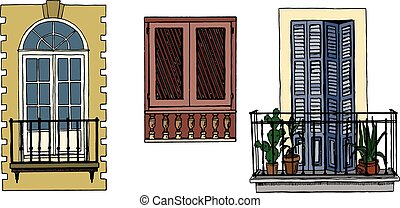 Set of vintage balconies and window with shutters