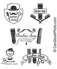 Set of vintage barber shop emblems, label, badges and designed elements.