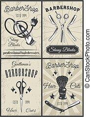 Set of vintage barbershop icons. Razor, shaving brush, clipper, scissors. Men s fashion haircuts