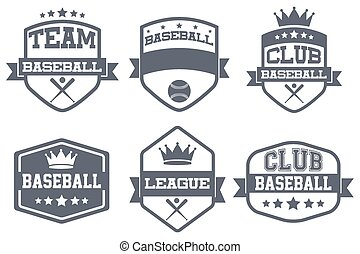 Set of Vintage Baseball Club Badge and Label