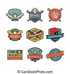 set of vintage baseball logos. vector illustration