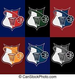 set of vintage basketball crests