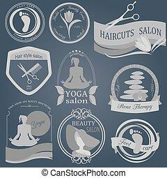 Set of vintage beauty salon logos